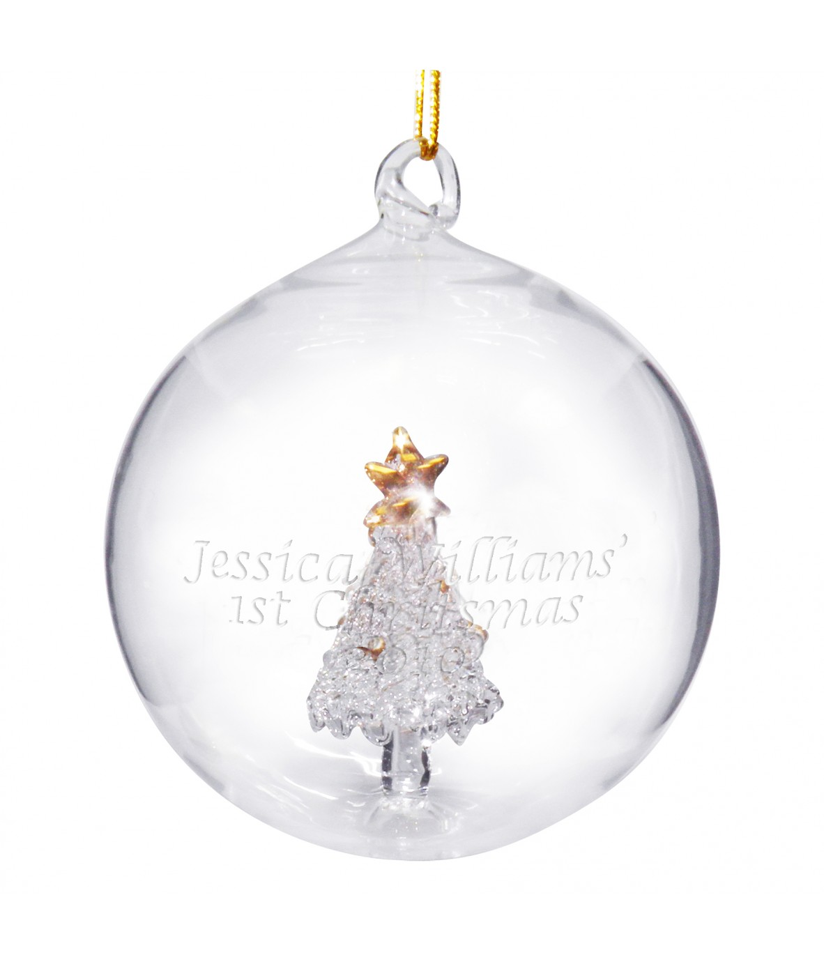 Personalised glass christmas tree decorations www for Personalised christmas decorations