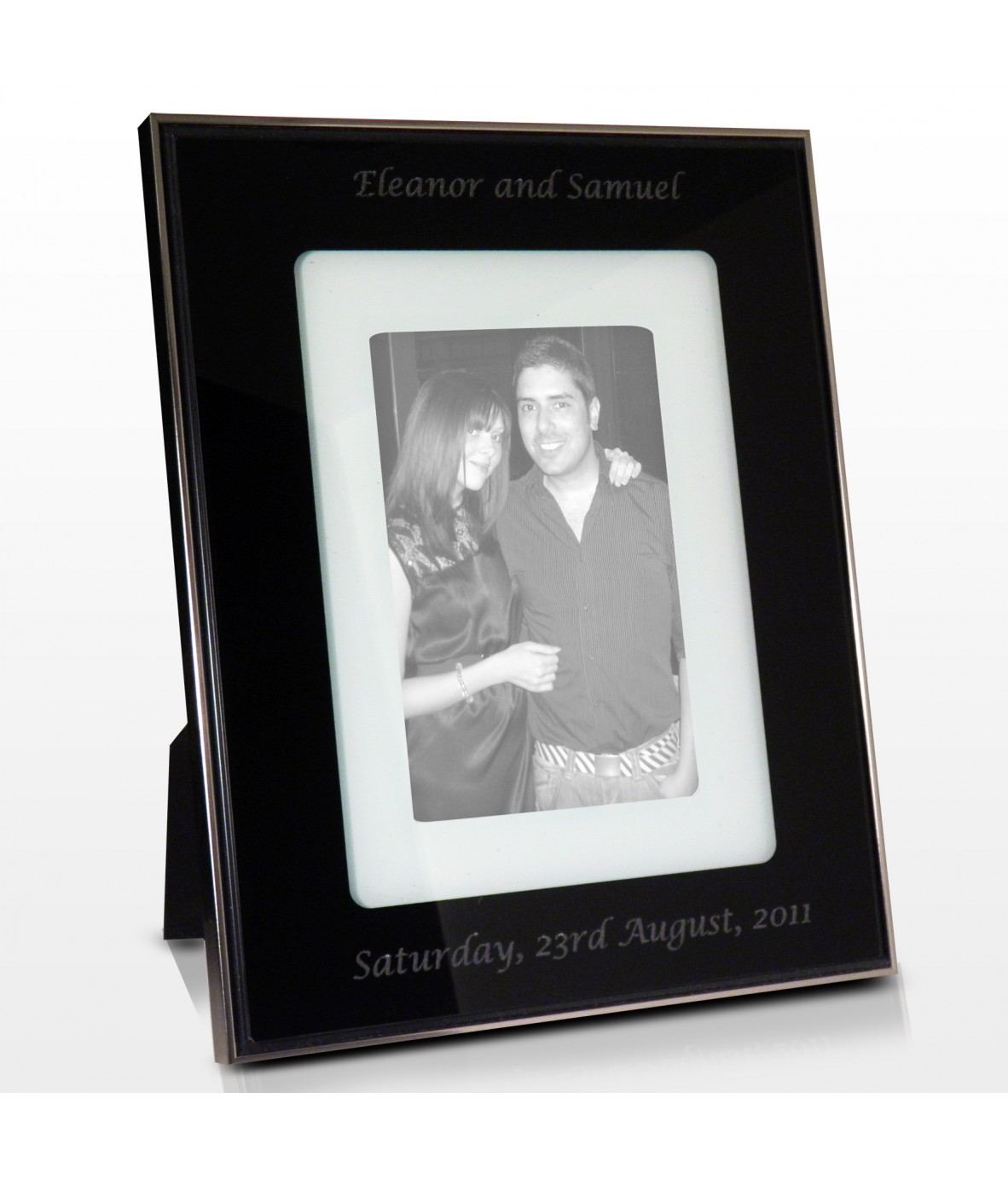 personalised photo frame layered black glass just for