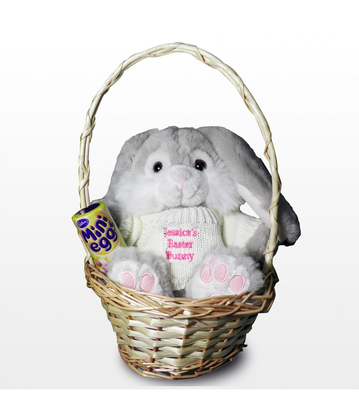 Personalised easter bunny basket pink just for gifts personalised easter bunny basket pink loading zoom negle Choice Image