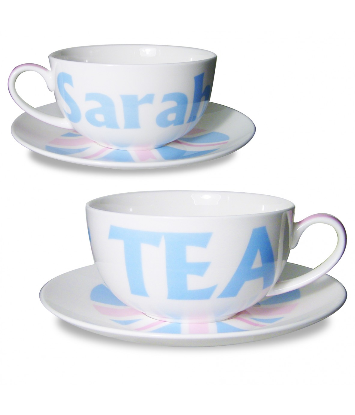 Personalised Blue Union Jack Teacup Saucer Just For Gifts