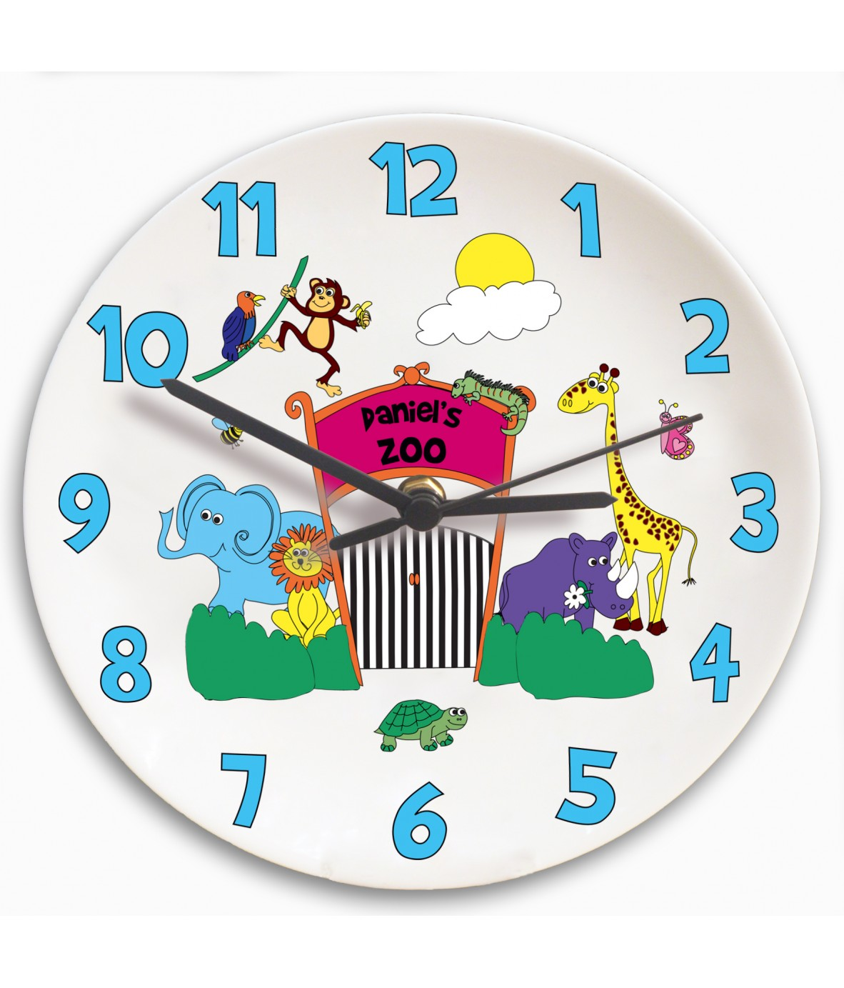 Worksheet Clock Childrens personalised clock childrens zoo just for gifts loading zoom