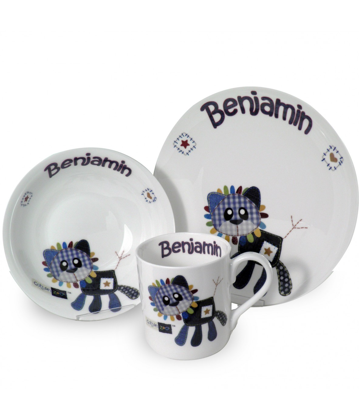 Loading zoom  sc 1 st  Personalised Gifts & Personalised Breakfast Set - Cotton Zoo (Denim the Lion - Boys ...