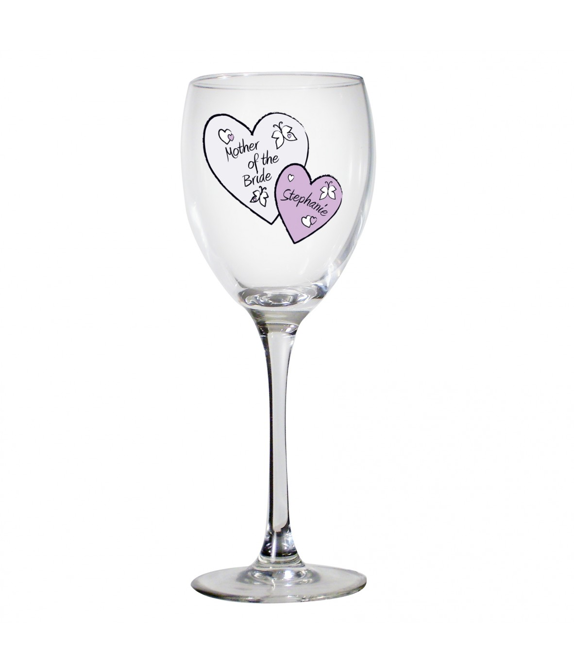 Wedding Personalised Wine Glasses : Personalised Butterfly Hearts Wedding Wine GlassJust for Gifts