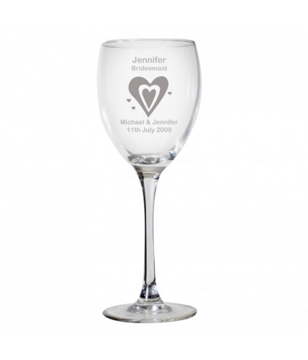 personalised designer wine glass hearts just for gifts