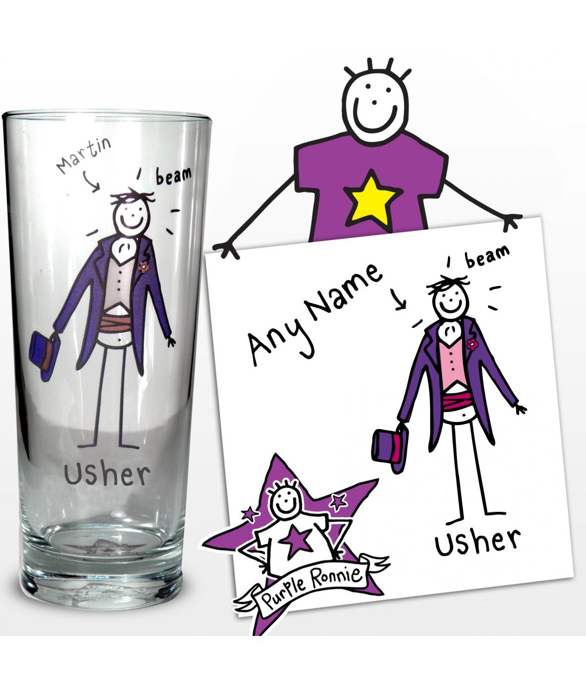 Personalised Wedding Usher Gifts : Personalised Pilsner GlassPurple Ronnie (WeddingUsher)Just ...