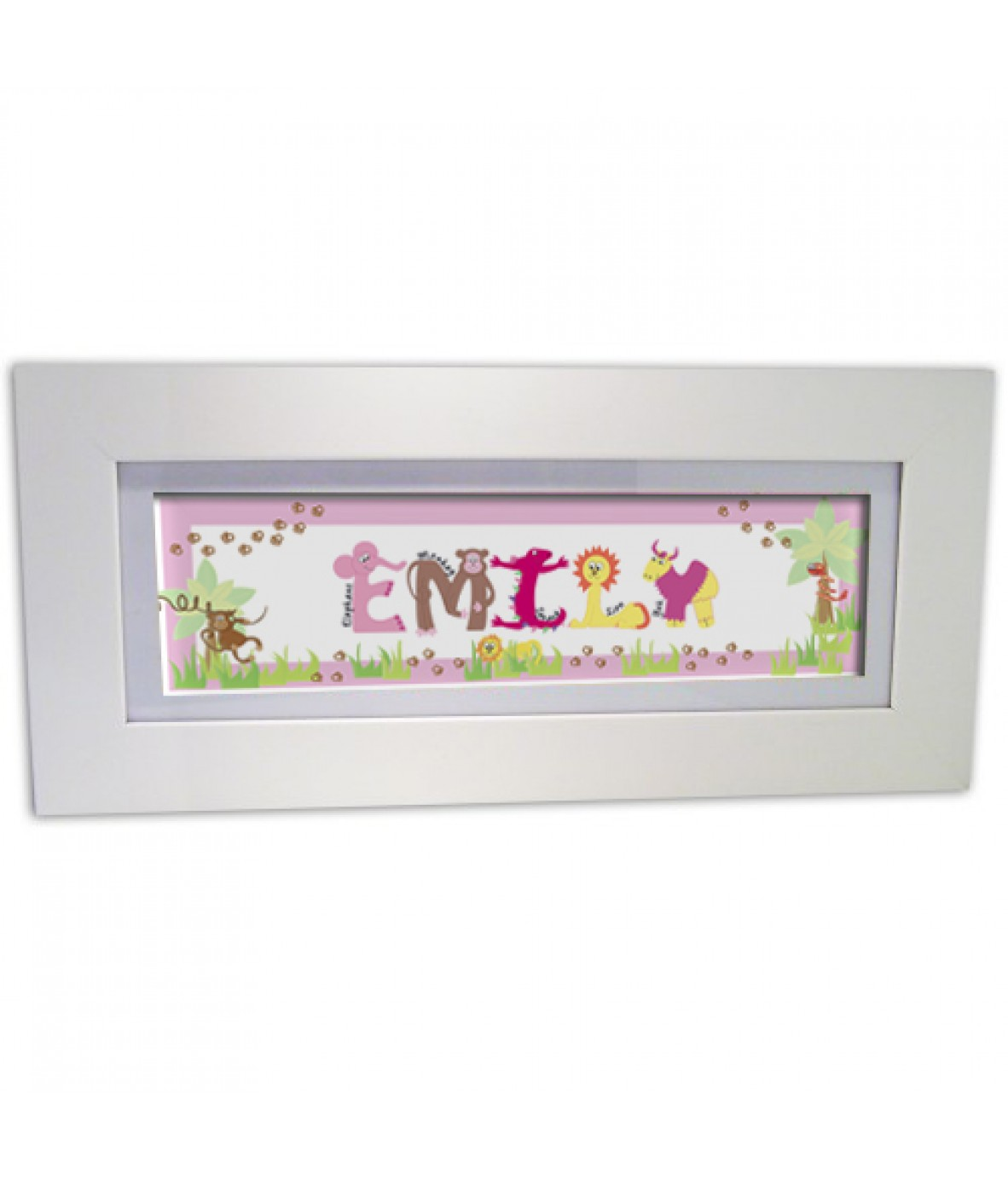 Personalised Animal Name Frame Pink Just For Gifts
