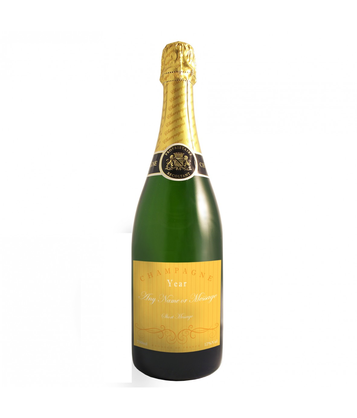 Personalised Champagne Bottle - Elegant Yellow - Just for Gifts