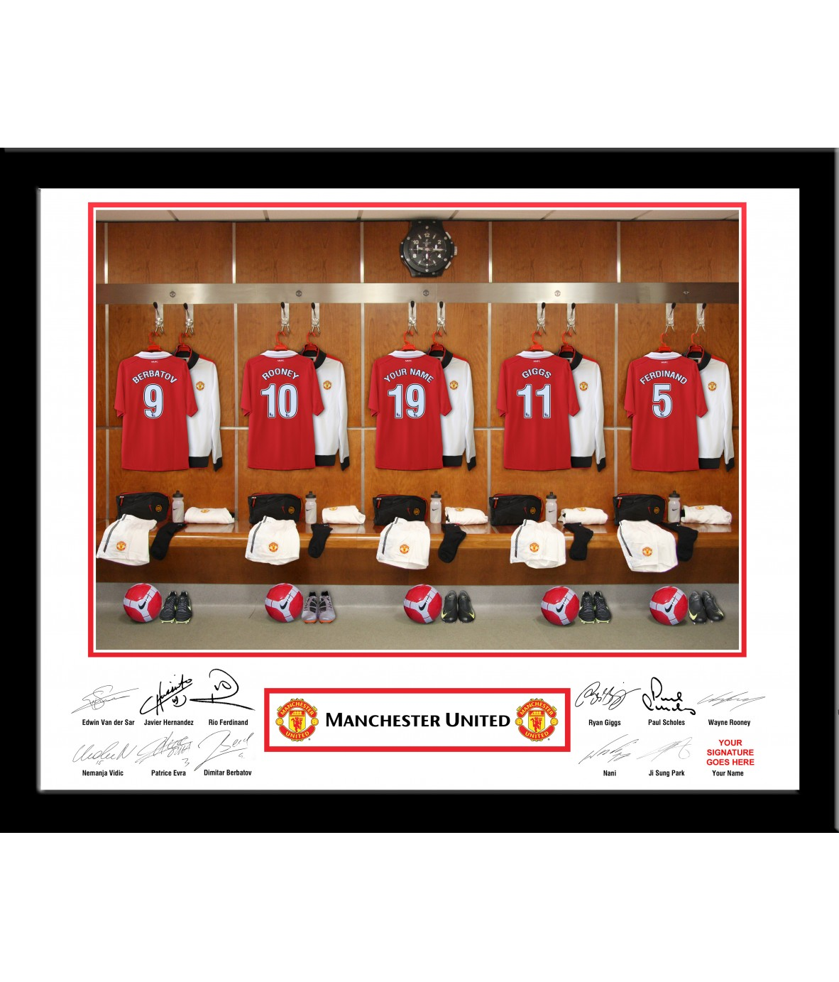 Personalised Manchester United Dressing Room Frame Just For Gifts