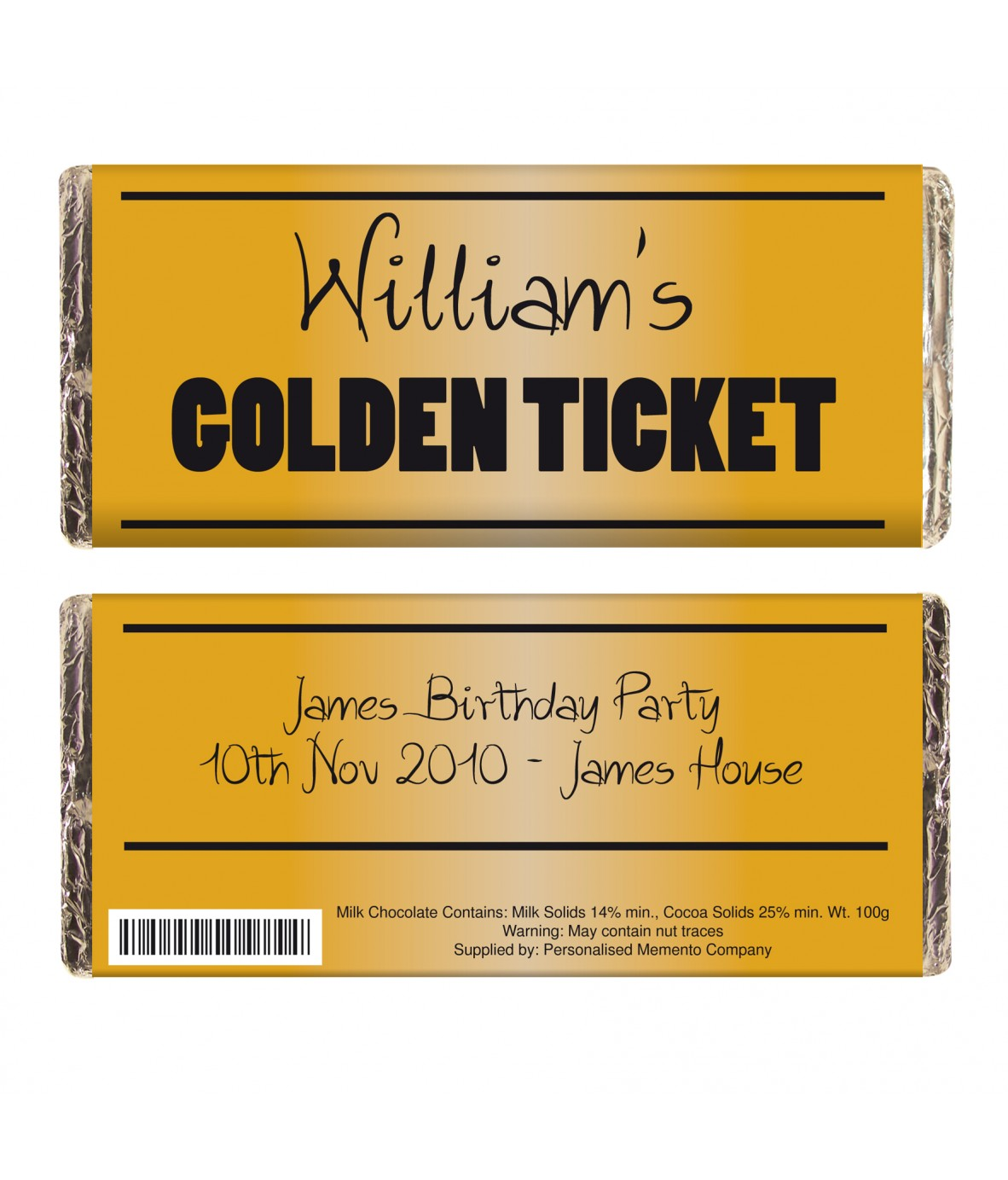 Personalised Golden Ticket Chocolate Bar - Just for Gifts