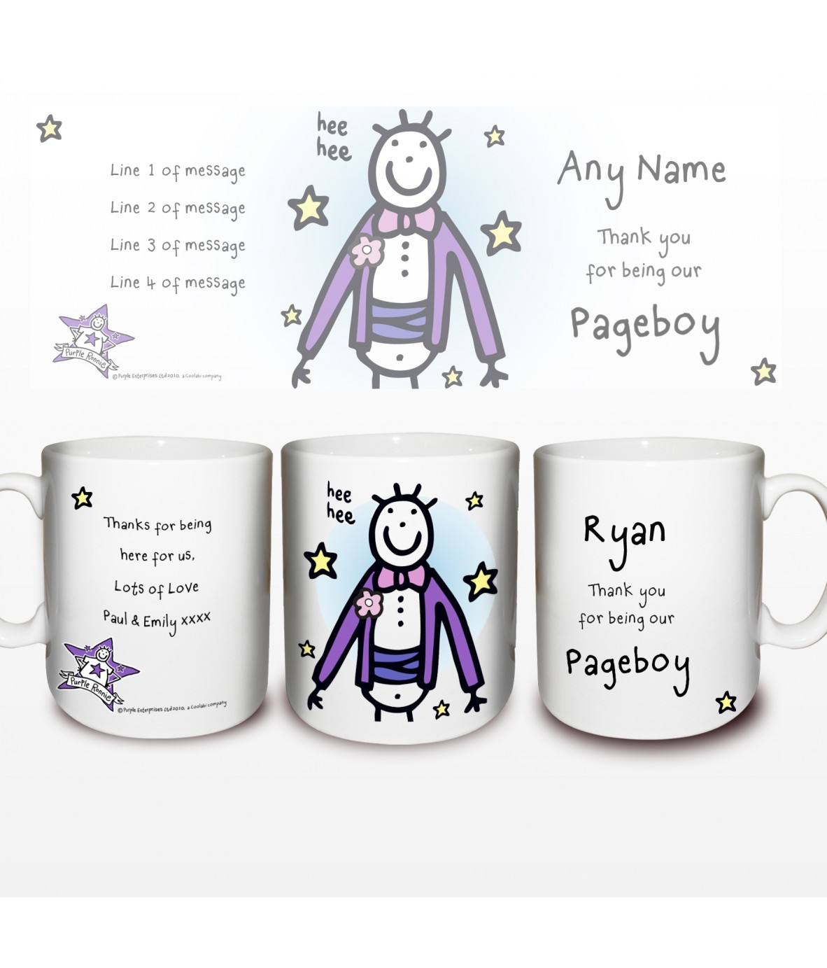 Wedding Gift Ideas For Pageboy : Personalised Purple Ronnie Wedding Pageboy MugJust for Gifts