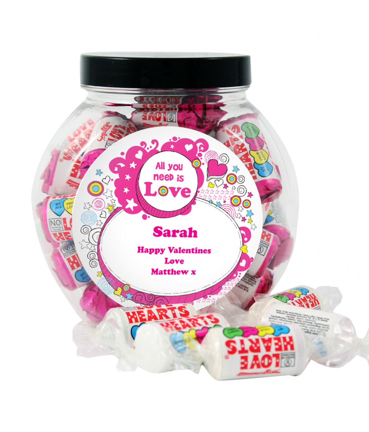 love heart sweet jar - just for gifts