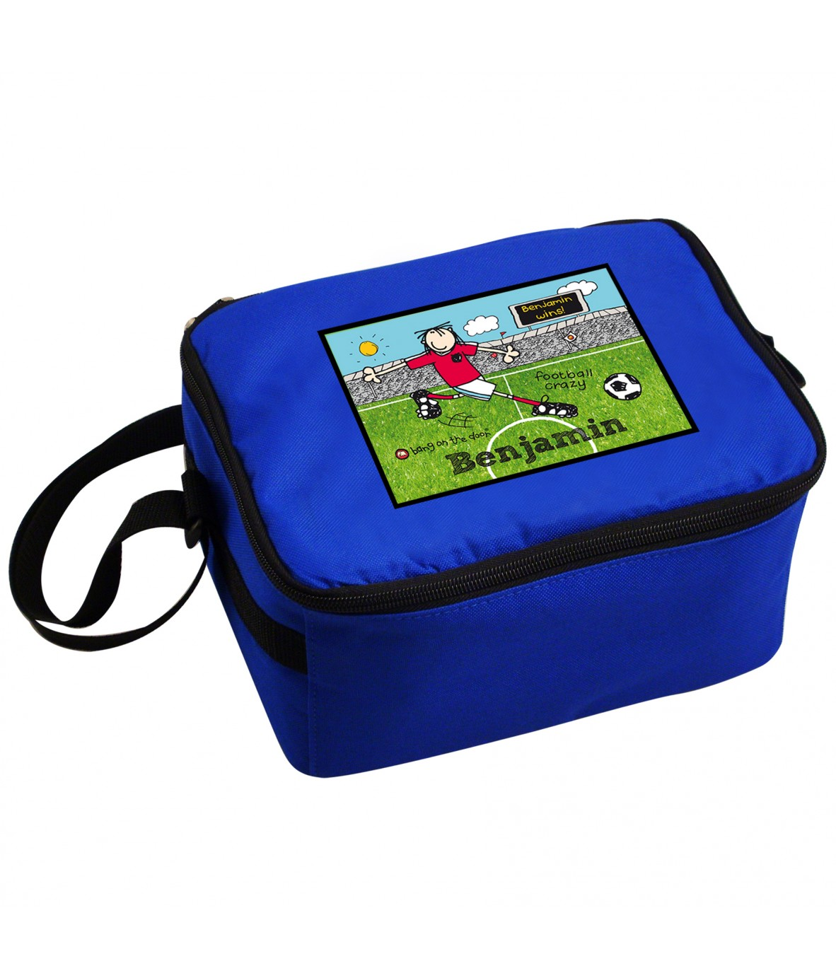 personalised boys lunch box bang on the door football. Black Bedroom Furniture Sets. Home Design Ideas